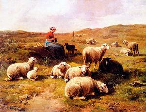 Cornelis Van Leemputten - A Shepherdess With Her Flock