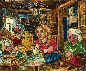 David Davidovich Burliuk - Family Gathering