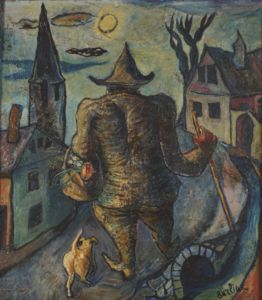 David Davidovich Burliuk - Man With Dog