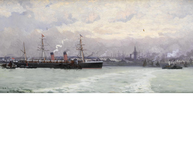 The Cunard Liner S.S. Servia In The Mersey by Edoardo Federico De Martino (1836-1912, Italy)