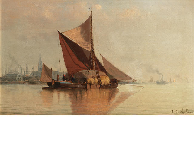 The Hay Barge by Edoardo Federico De Martino (1836-1912, Italy)