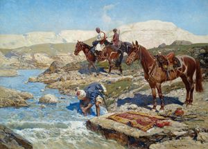 Franz Roubaud - Circassian Horsemen At A River