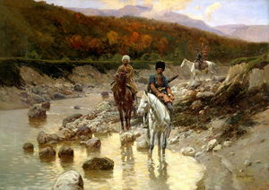 Franz Alexeevich Roubaud - Cossacks In The Mountain River
