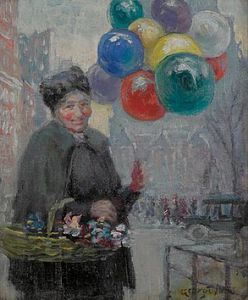 George Benjamin Luks - The Balloon Seller New York