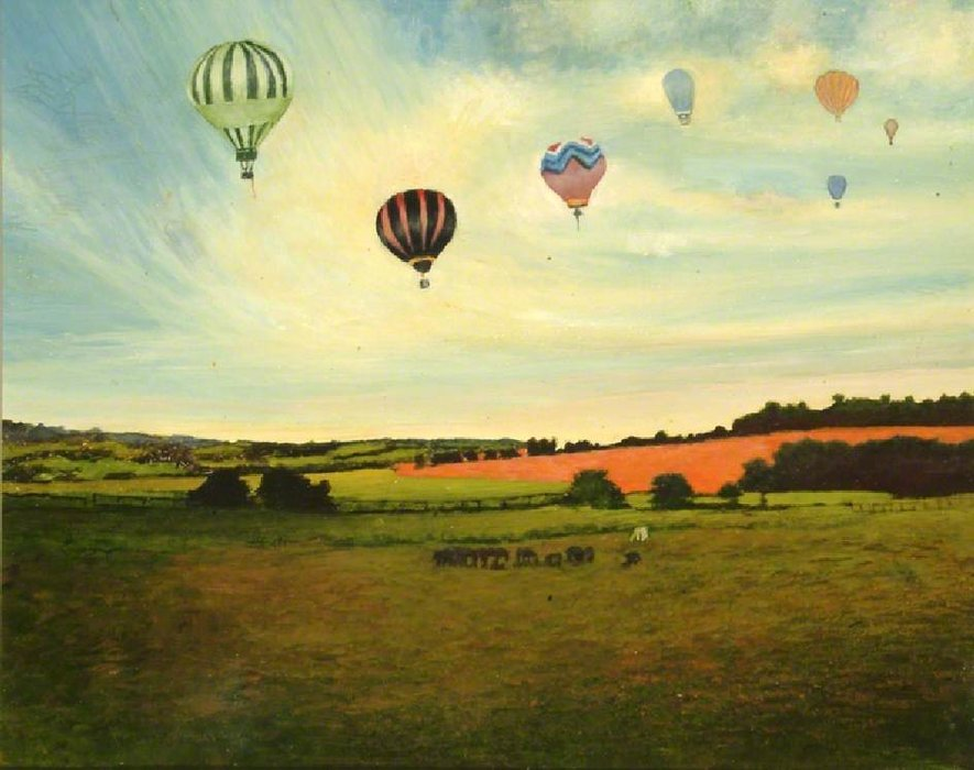 Balloons Over Longdown by George Edwards (1694-1773, Australia) | WahooArt.com