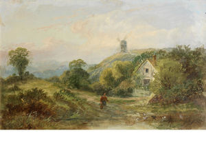George Turner - A Figure In A Landscape With A Windmill