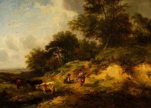 George Turner - Landscape, Peasants And Cattle