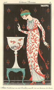 Georges Barbier - Robe D'interieur En Soie Brochee