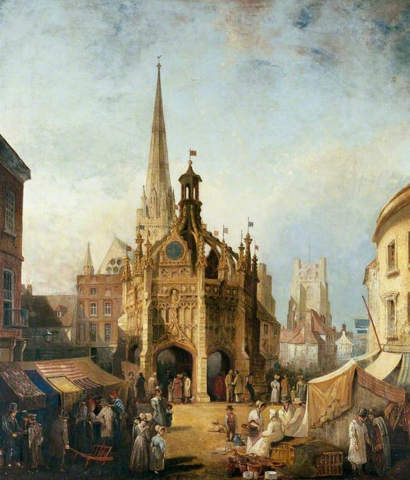 A View Of Chichester Cross From East Street, West Sussex by Henry Pether (1828-1865, United Kingdom) | Museum Quality Reproductions | WahooArt.com