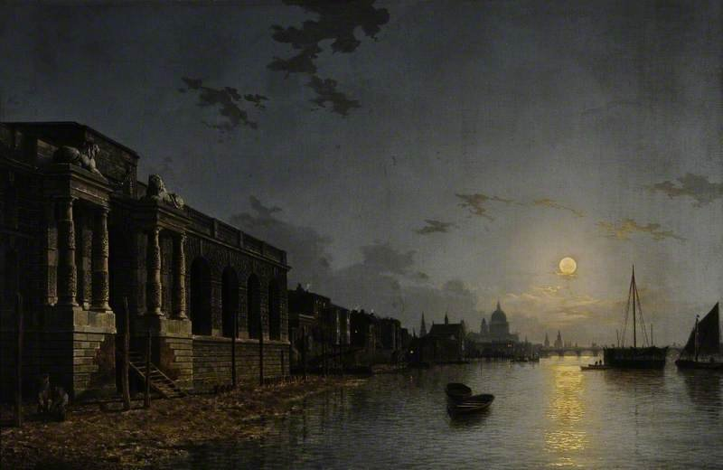 A View Of The Thames by Henry Pether (1828-1865, United Kingdom) | Famous Paintings Reproductions | WahooArt.com