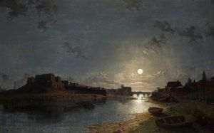 Henry Pether - Chester Castle By Moonlight