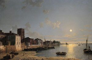 Henry Pether - Cheyne Walk In Chelsea, London, By Moonlight