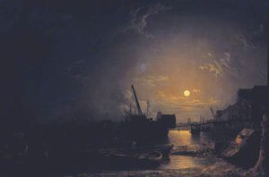 Henry Pether - Greenwich Reach, Moonlight