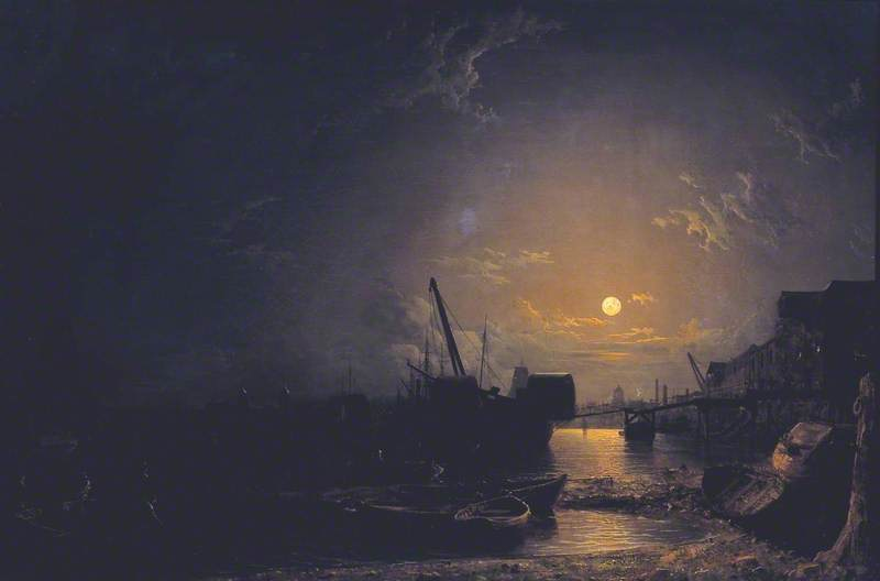 Greenwich Reach, Moonlight by Henry Pether (1828-1865, United Kingdom) | Oil Painting | WahooArt.com
