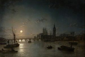 Henry Pether - Houses Of Parliament From The Thames By Moonlight