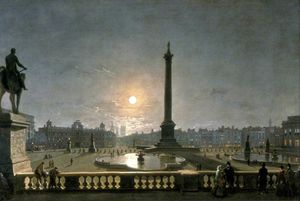 Henry Pether - Northumberland House And Whitehall From The North Side Of Trafalgar Square, London, By Moonlight