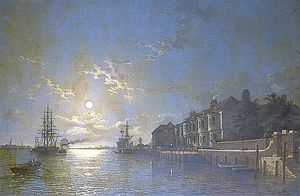 Henry Pether - Off Tilbury, Essex, Shipping On The Thames In Moonlight