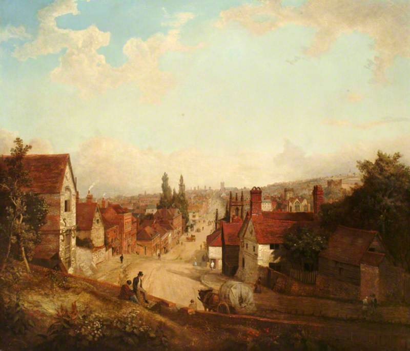 Old Guildford by Henry Pether (1828-1865, United Kingdom)
