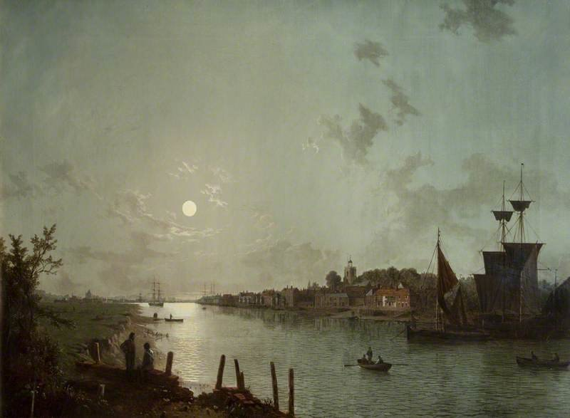 Scene On The Thames by Henry Pether (1828-1865, United Kingdom) | Painting Copy | WahooArt.com