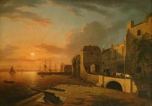 Henry Pether - Southampton Town Quay At Sunset
