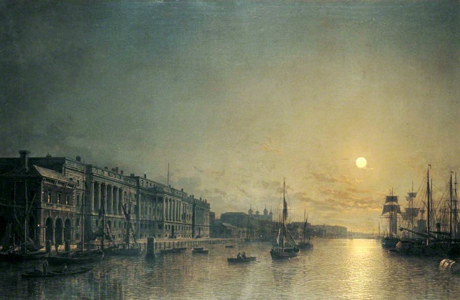 The Custom House And Pool Of London By Moonlight by Henry Pether (1828-1865, United Kingdom) | WahooArt.com