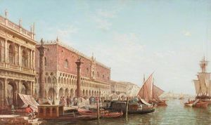 Henry Pether - The Doge's Palace, Venice, With The Columns Of Saint Mark And Saint Theodore