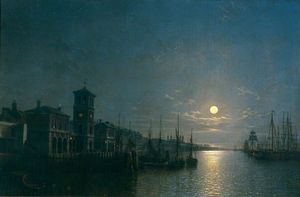 Henry Pether - The Pool Of London, Billingsgate To The Tower, Moonlight