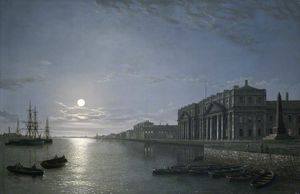 Henry Pether - The Thames And Greenwich Hospital By Moonlight