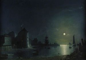Henry Pether - Town Quay By Moonlight