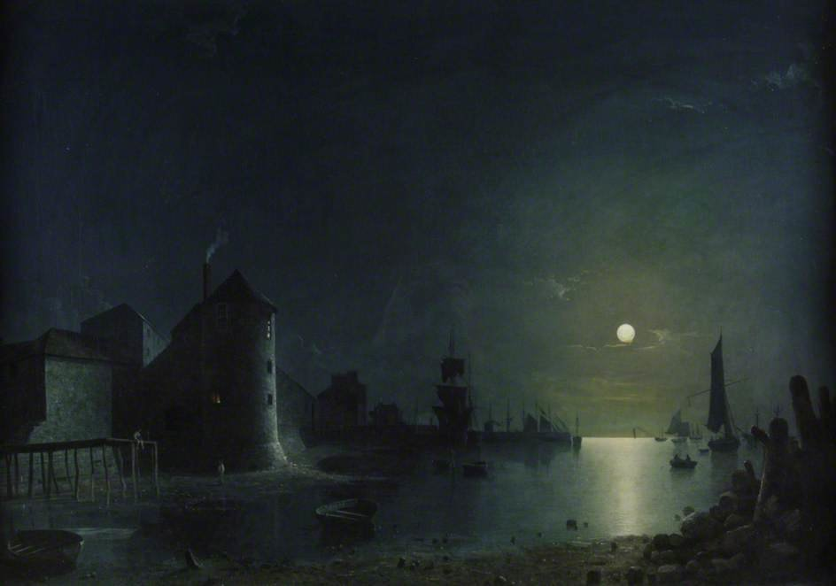 Town Quay By Moonlight by Henry Pether (1828-1865, United Kingdom) | Oil Painting | WahooArt.com