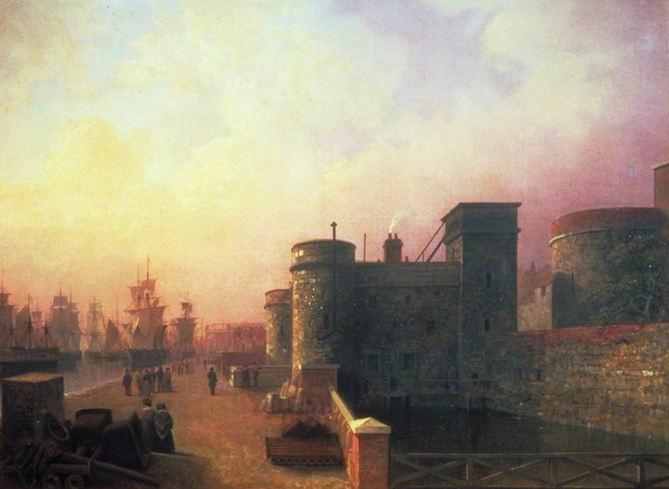 Traitor`s Gate, Tower Of London by Henry Pether (1828-1865, United Kingdom) | Famous Paintings Reproductions | WahooArt.com