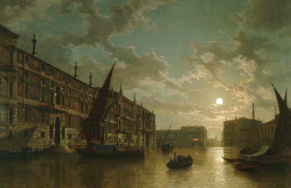 Venice By Moonlight by Henry Pether (1828-1865, United Kingdom) | Museum Quality Reproductions | WahooArt.com