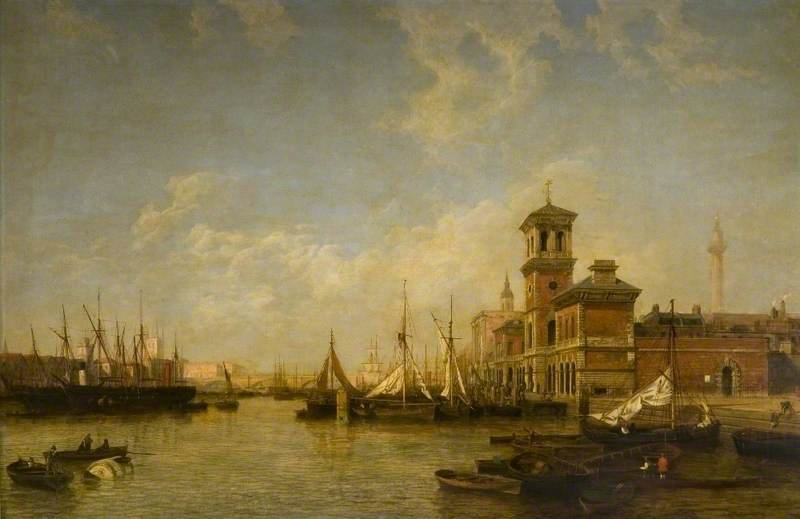 View Of The Thames, Pool Of London, From Billingsgate To London Bridge by Henry Pether (1828-1865, United Kingdom)