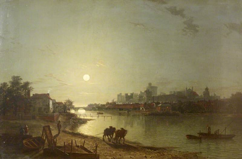 View Of Windsor Castle Looking At The Lower Ward By Moonlight by Henry Pether (1828-1865, United Kingdom) | WahooArt.com