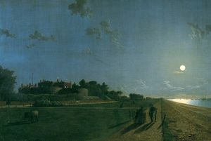 Henry Pether - Walmer Castle By Moonlight
