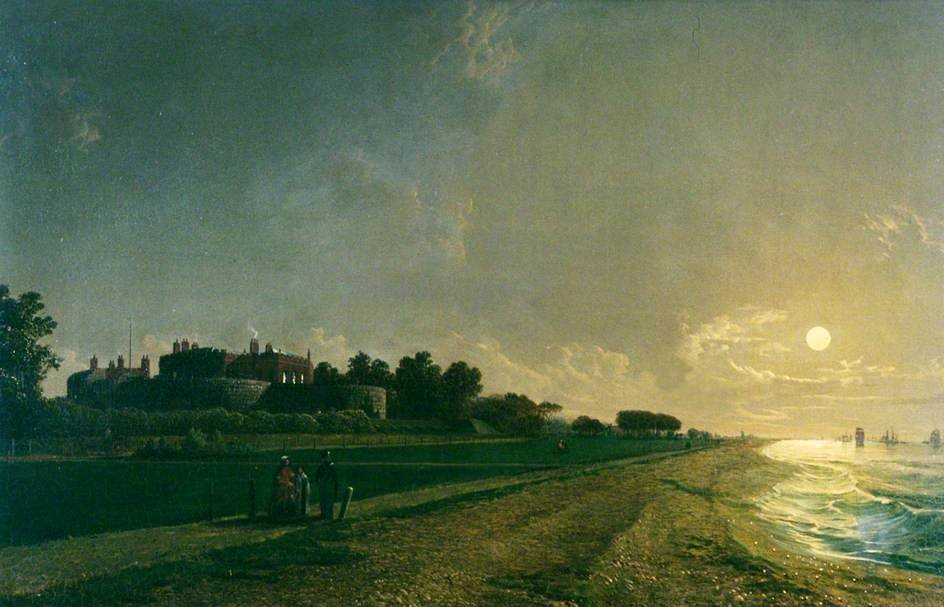 Order Print On Canvas Walmer Castle By Moonlight by Henry Pether (1828-1865, United Kingdom) | WahooArt.com | Order Poster On Canvas Walmer Castle By Moonlight by Henry Pether (1828-1865, United Kingdom) | WahooArt.com