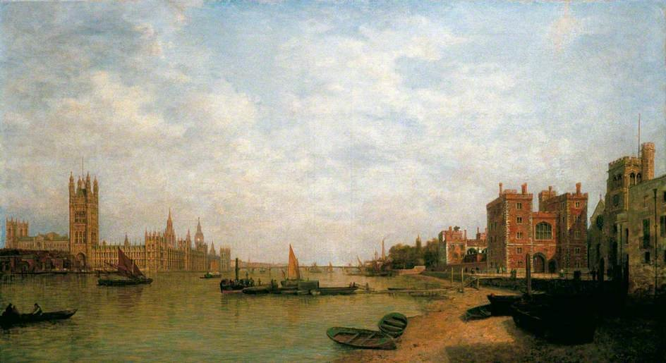 Westminster From Lambeth by Henry Pether (1828-1865, United Kingdom) | Famous Paintings Reproductions | WahooArt.com