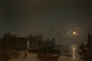 Henry Pether - Westminster From The Horse-ferry Quay By Moonlight