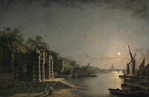 Henry Pether - York Watergate And The Adelphi From The River, London, By Moonlight