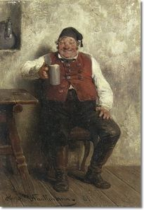 Order Art Reproductions | A Good Beer by Hugo Wilhelm Kauffmann (1844-1915, Germany) | WahooArt.com