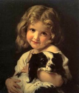 Hugues Merle - Young girl with spaniel