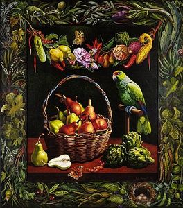 Ian John Hornak - Summer Still Life With Basket Of Pears & Paco The Parrot