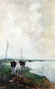 Jan Weissenbruch - A Cow Standing By The Waterside In A Polder