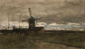 Jan Weissenbruch - Windmill In Holland