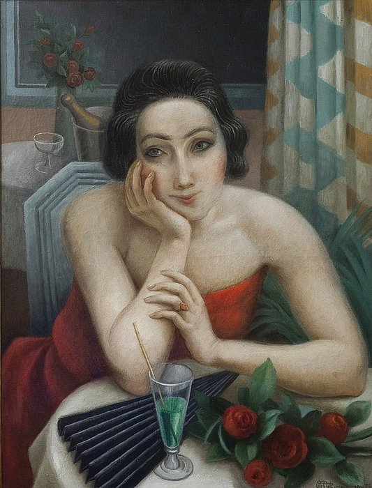Jeune Femme Pensive Aux Roses Rouges by Jean Dominique Antony Metzinger (1883-1956, France) | Oil Painting | WahooArt.com
