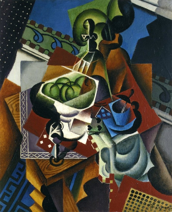 Playing Cards, Coffee Cup And Apples, by Jean Dominique Antony Metzinger (1883-1956, France)