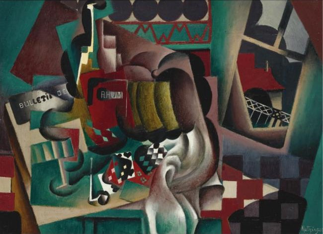Still Life With Pumpkin And Bottle Of Rum by Jean Dominique Antony Metzinger (1883-1956, France)