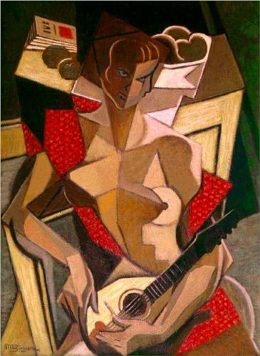 Woman With A Mandolin by Jean Dominique Antony Metzinger (1883-1956, France)