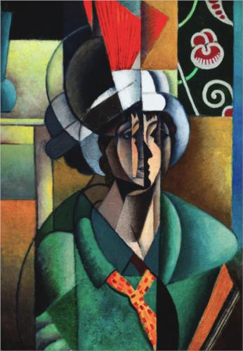 Woman With Fan by Jean Dominique Antony Metzinger (1883-1956, France)