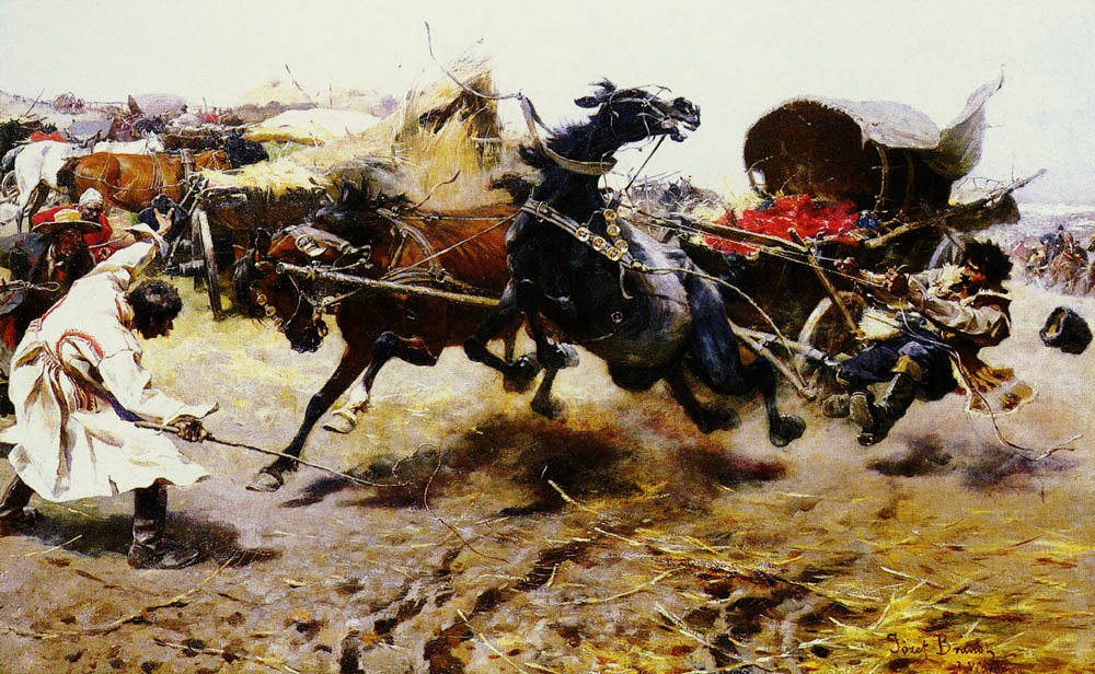 The Runaway Cart by Jozef Brandt (1841-1915) | Art Reproduction | WahooArt.com